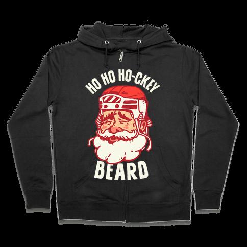 Ho Ho Ho-ckey Beard Zip Hoodie