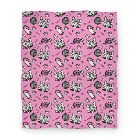 Cats and Cat Toys Pattern Blanket