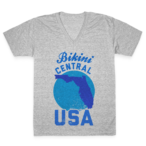 Bikini Central USA (Florida) V-Neck Tee Shirt