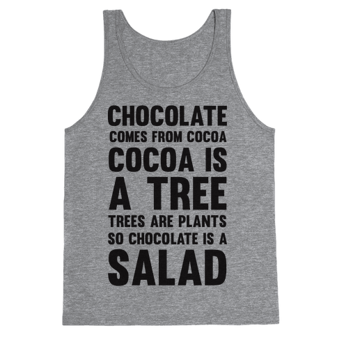 Chocolate Comes From Cocoa, Cocoa Is A Tree, Trees Are Plants, So Chocolate Is A Salad Tank Top