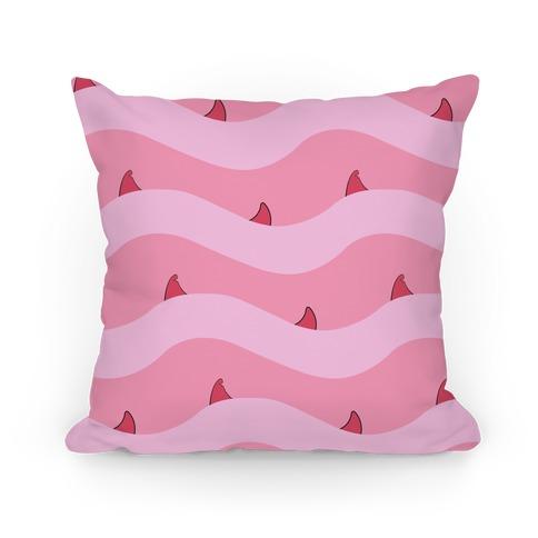 Pink Shark Fins Waves Pattern Pillow