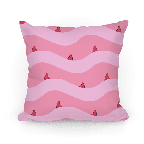 Pink Shark Fins Waves Pattern Pillow