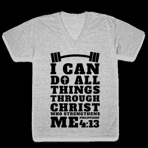 I Can Do All Things Through Christ (Lifting) V-Neck Tee Shirt