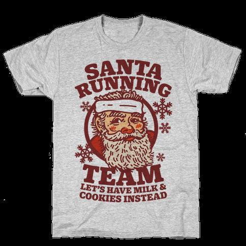 Santa Running Team Mens T-Shirt