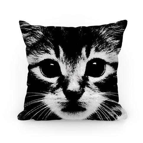 Cat Face (black) Pillow