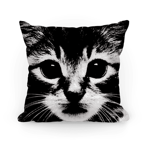 Cat Face (black) Pillow