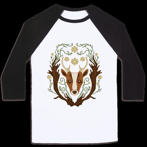 Floral Deer Baseball Tee