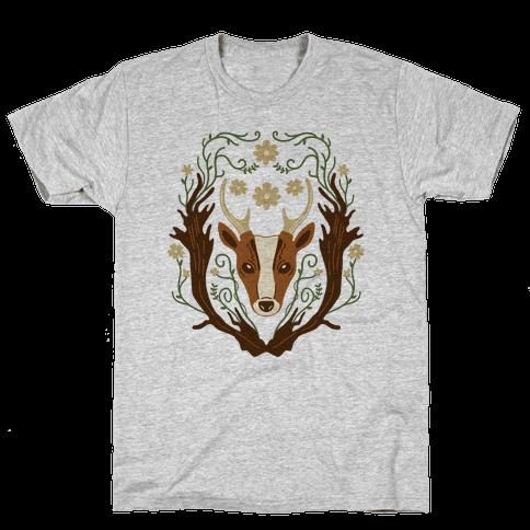 Floral Deer Mens T-Shirt