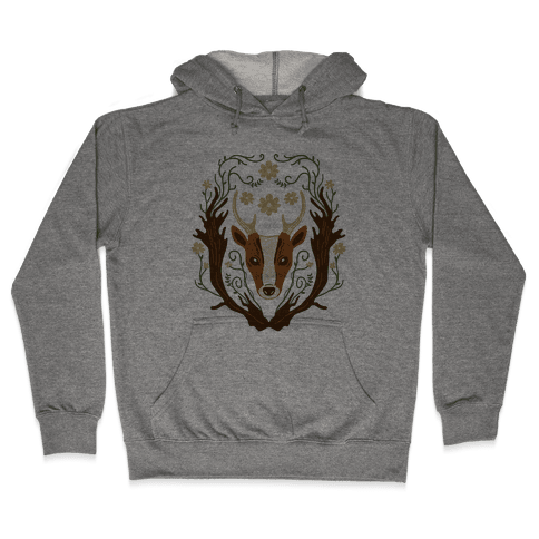Floral Deer Hooded Sweatshirt