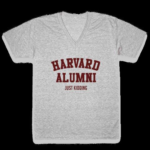 Harvard Alumni (just Kidding) V-Neck Tee Shirt