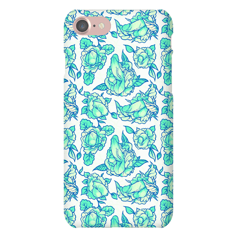 Floral Penis Pattern Teal Phone Case