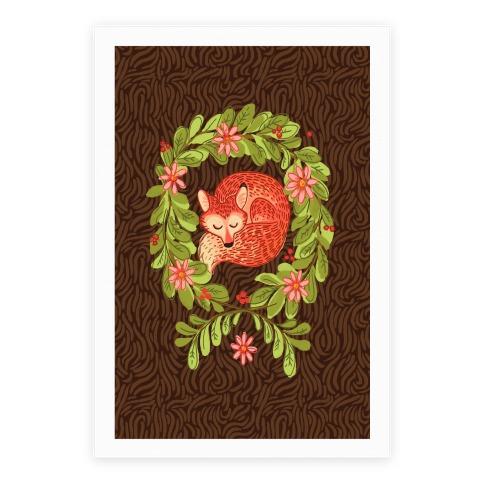 Sleeping Fox Wreath Poster