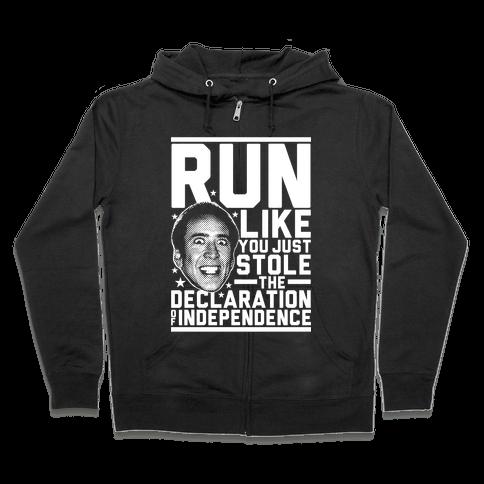 Run Like Nick Cage Zip Hoodie