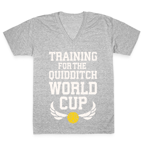 Training For The Quidditch World Cup V-Neck Tee Shirt