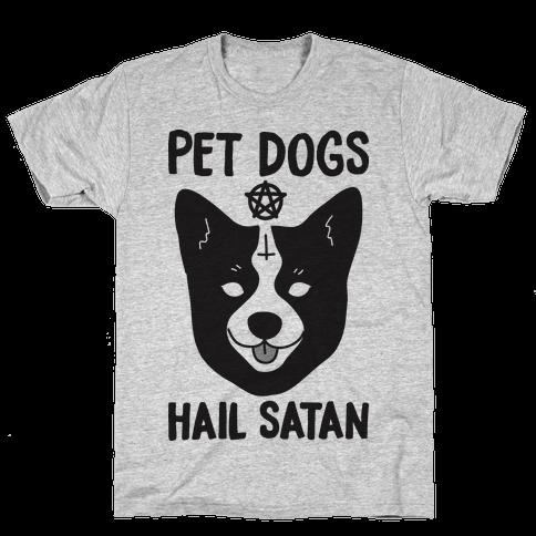 Pet Dogs Hail Satan Corgi Mens T-Shirt