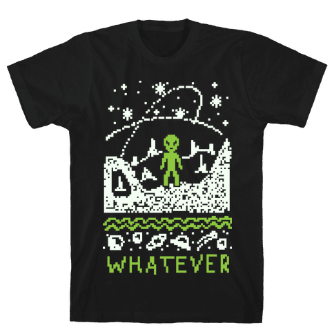 Whatever Alien Ugly Christmas Sweater Mens T-Shirt