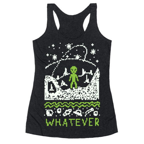 Whatever Alien Ugly Christmas Sweater Racerback Tank Top