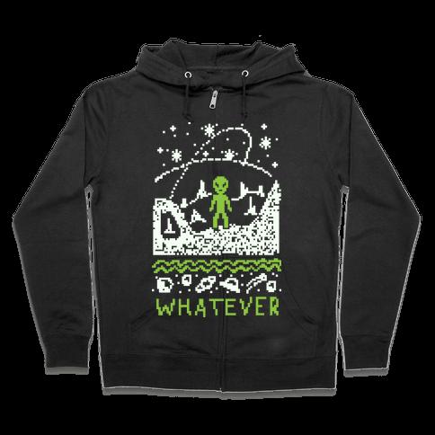 Whatever Alien Ugly Christmas Sweater Zip Hoodie