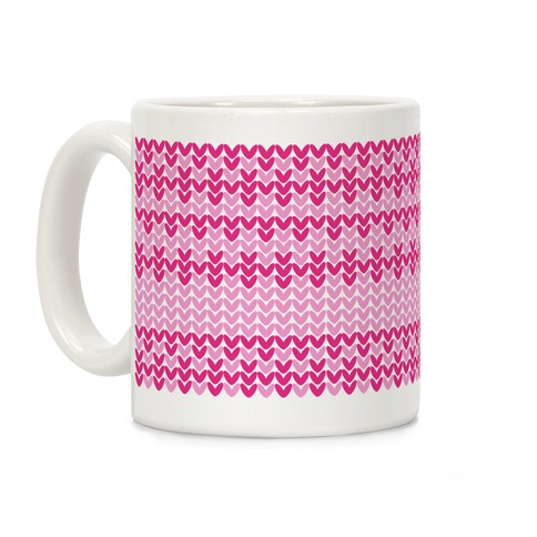 Faux Knitted Sweater Pink Pattern Coffee Mug