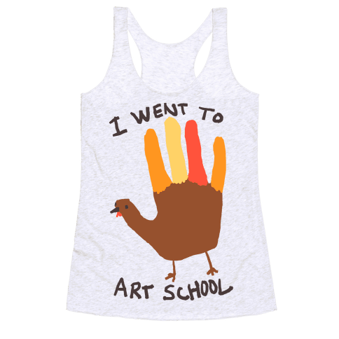 I Went To Art School Hand Turkey Racerback Tank Top