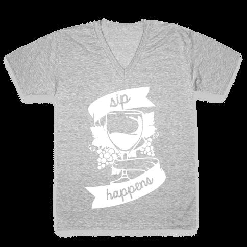 Sip Happens V-Neck Tee Shirt
