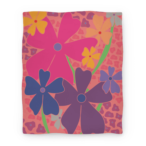 Pink Happy Flowers Pattern Blanket