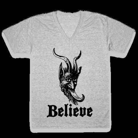 Believe In Krampus V-Neck Tee Shirt