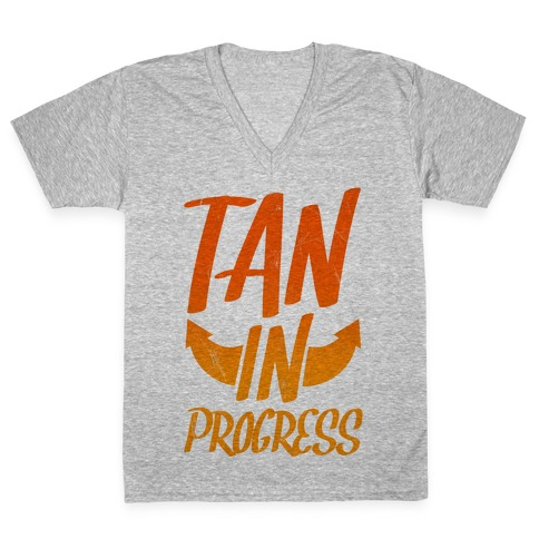 Tan In Progress V-Neck Tee Shirt