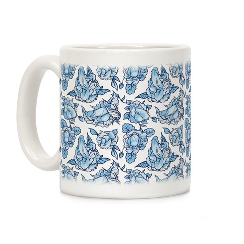 Floral Penis Blue Coffee Mug