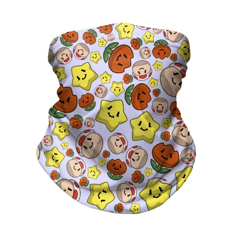 Stuffed Powerups Pattern Neck Gaiter