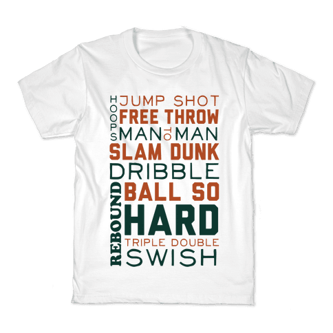 Basketball Typographic (Green and Orange) Kids T-Shirt