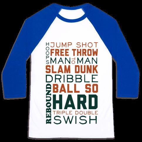 Basketball Typographic (Green and Orange) Baseball Tee