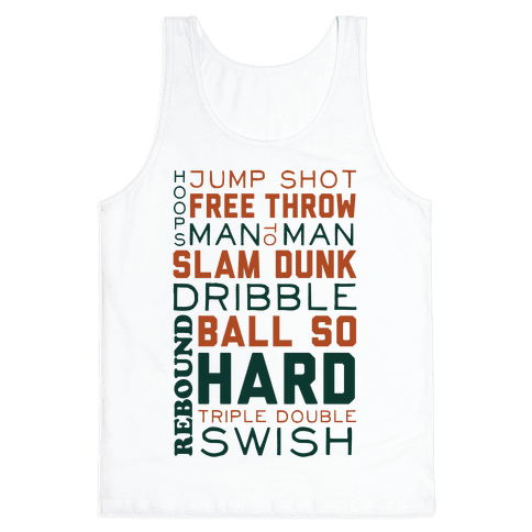 Basketball Typographic (Green and Orange) Tank Top