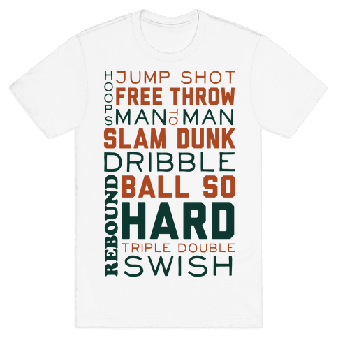 Basketball Typographic (Green and Orange) Mens T-Shirt