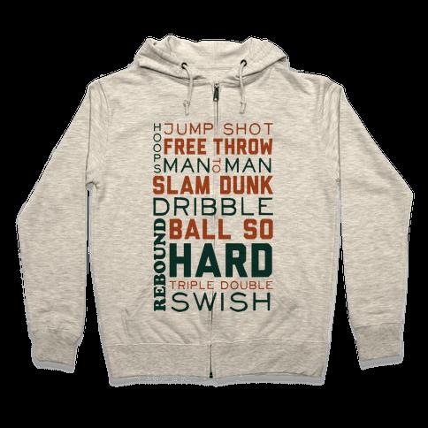 Basketball Typographic (Green and Orange) Zip Hoodie