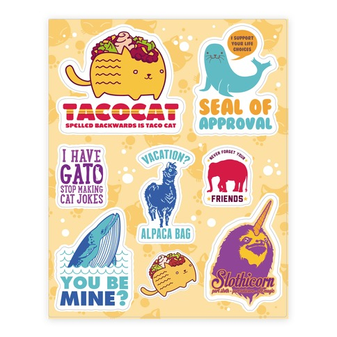 Animal Pun Sticker and Decal Sheet