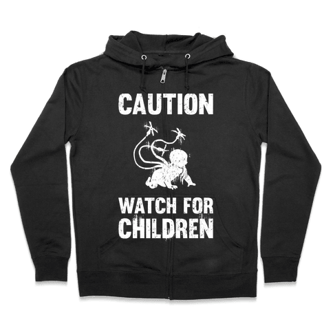 Caution Watch For Children Zip Hoodie