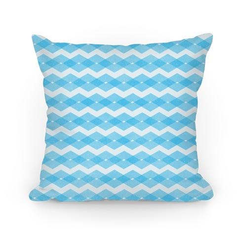 Blue Zig Zag Pattern Pillow
