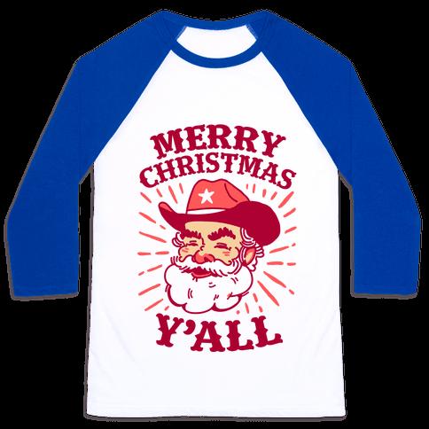 Merry Christmas Y'all Santa Claus Baseball Tee