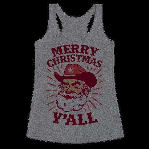 Merry Christmas Y'all Santa Claus Racerback Tank Top