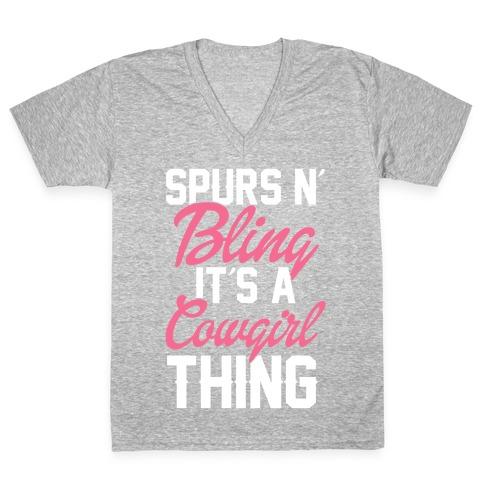 Spurs N' Bling V-Neck Tee Shirt