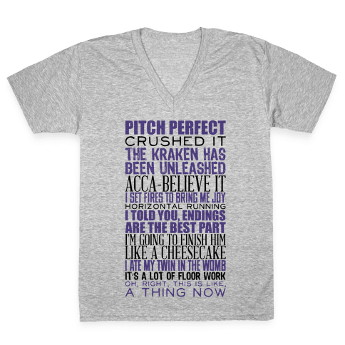 Pitch Perfect Quotes V-Neck Tee Shirt