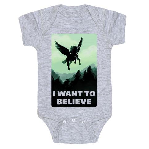 Winged Unicorn: I Want To Believe Parody Baby Onesy
