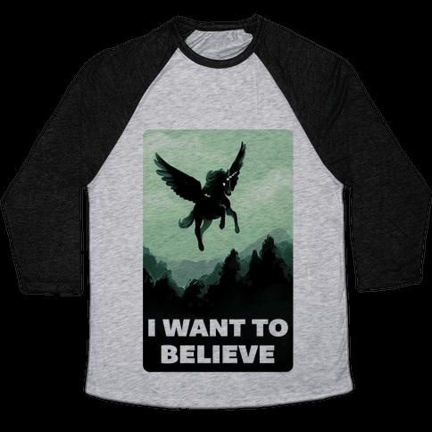 Winged Unicorn: I Want To Believe Parody Baseball Tee