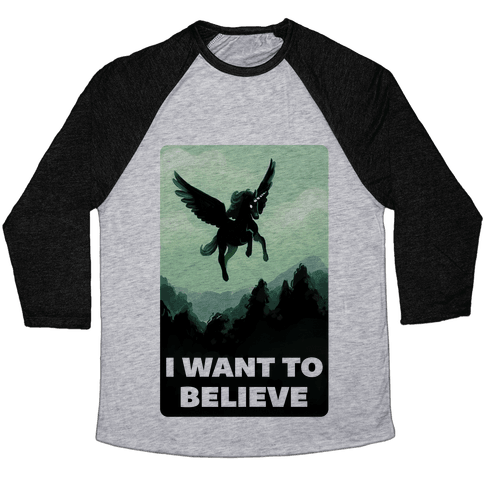 Winged Unicorn: I Want To Believe Parody Baseball Tee