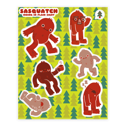 Sasquatch Hiding in Plain Sight Sticker/Decal Sheet