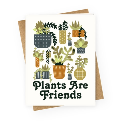 Plants Are Friends Retro Greeting Card