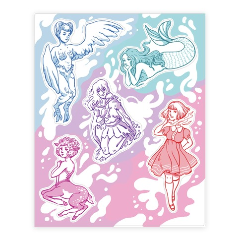 Pastel Monster Girls Sticker and Decal Sheet