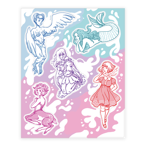 Pastel Monster Girls  Sticker/Decal Sheet