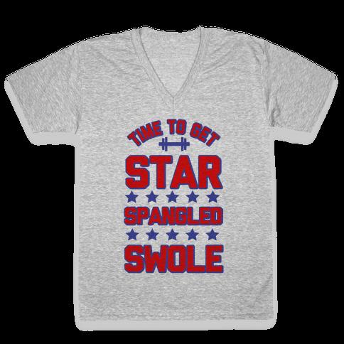 Star Spangled Swole V-Neck Tee Shirt